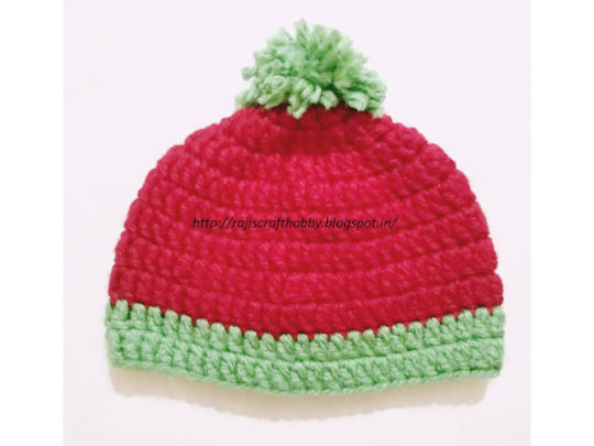 Watermelon Bulky Yarn Baby Hat