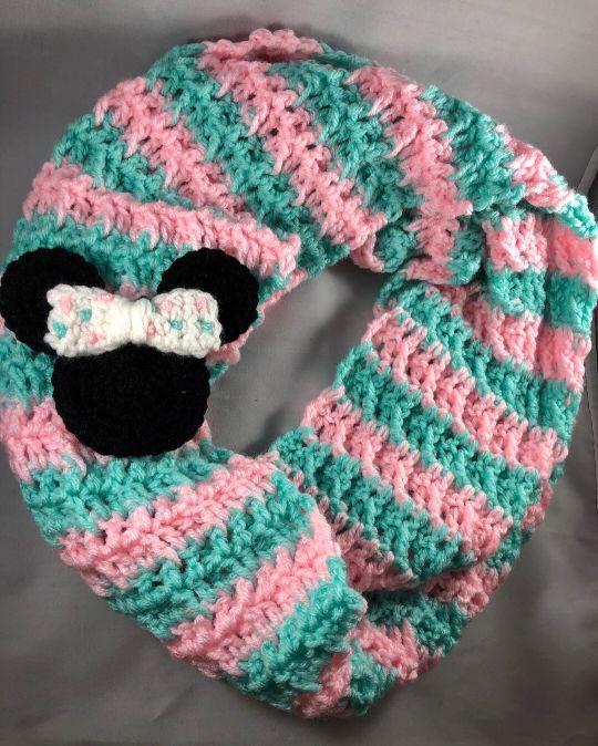 Minnie Mouse Waffle Stitch Infinity Scarf