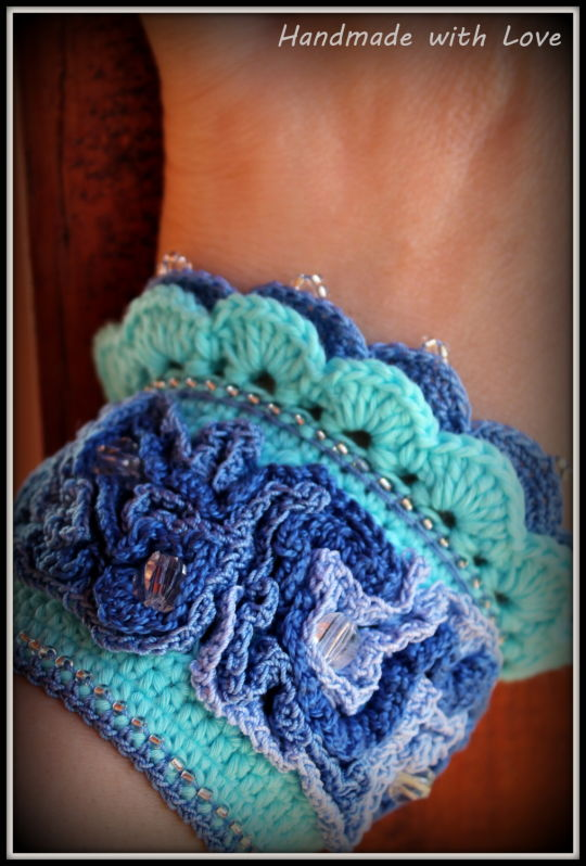 Crochet cuff bracelet in sea colors