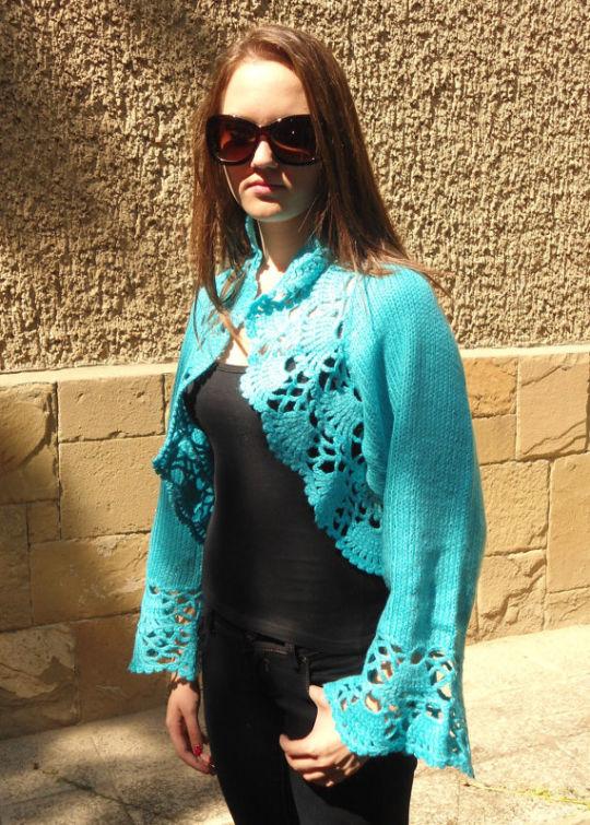 Knitted Turquoise Shrug, Long Sleeves Bolero, Turquoise Bolero, Delicate Romantic, Lace Chic
