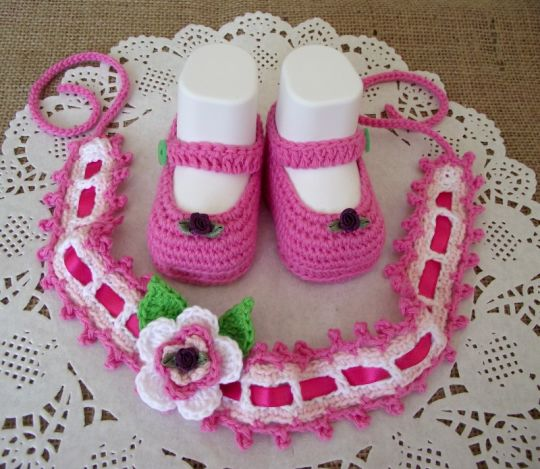 Ruby Set Crochet Baby Headband and Shoes