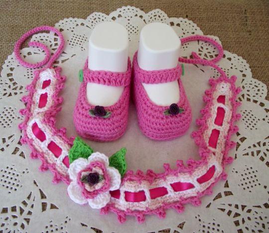 Ruby Set Crochet Baby Headband and Shoes