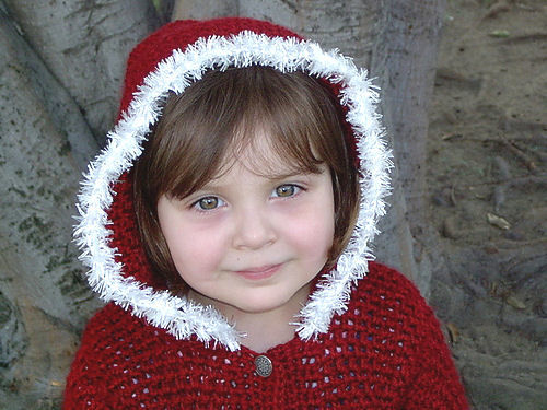 Little Crimson Hooded Crochet Sweater