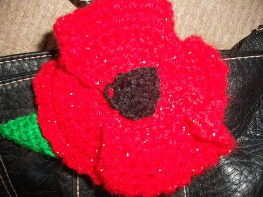 Crochet Poppy Brooch