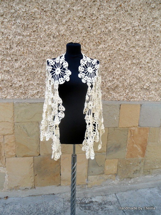 Crochet Wedding Shawl, Bridal Champagne Shawl, Bridesmaid Wrap, Lace Bridesmaid Fashion
