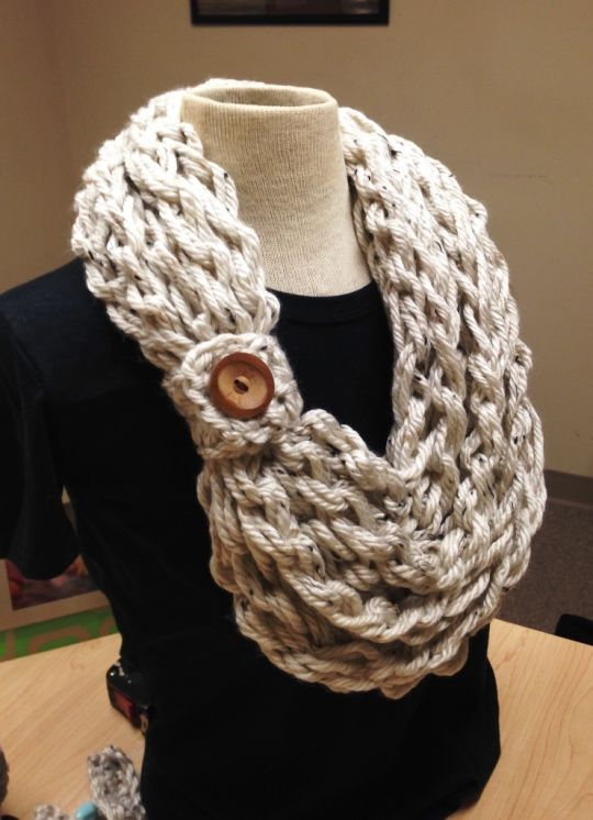 Kay's Crochet Bulky Rope Hand Crochet Oatmeal Scarf with Button