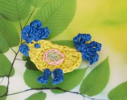 Crochet Rooster Bird Applique