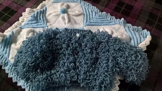 crochet loopy jacket and leaf blanket