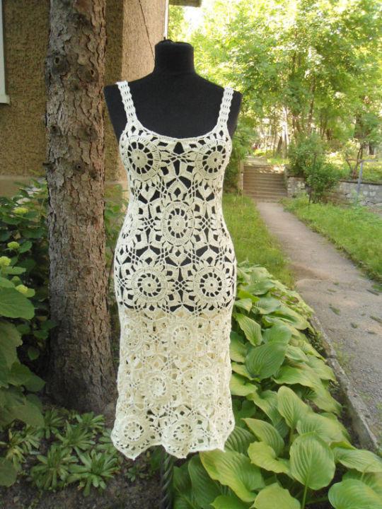 Crochet Dress, Summer Lace Dress, Lace Champagne Dress, Exclusive Handmade Dress