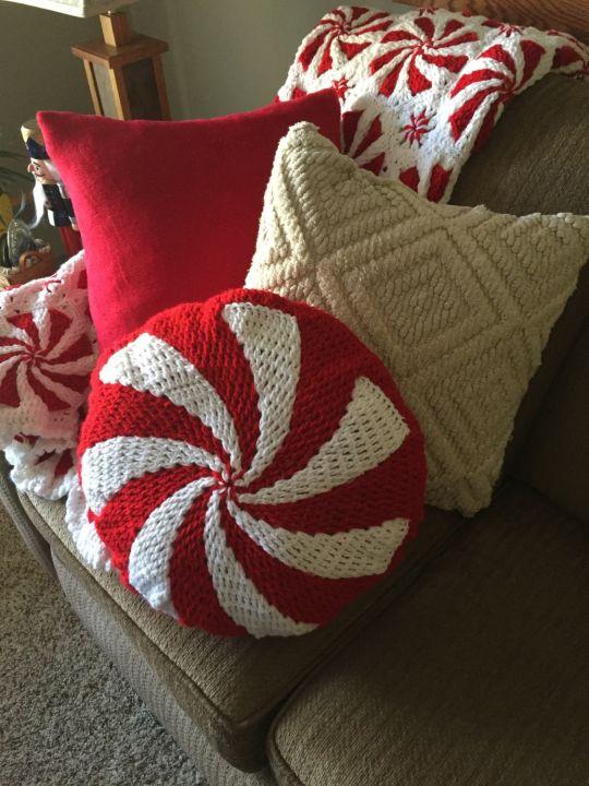 Crocheted peppermint pillow