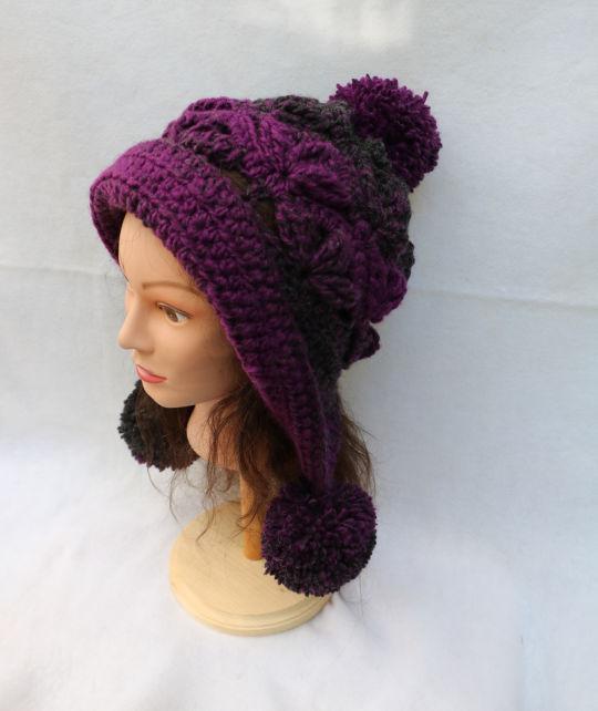 Frozen Snow Hat in Lion Brand Scarfie Yarn.  Magenta/Charcoal