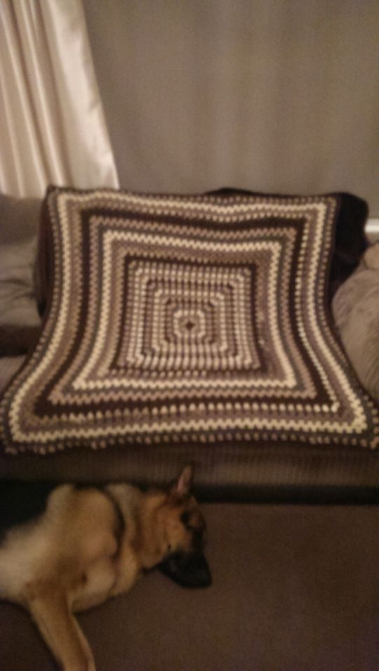 my shawl made from a granny square