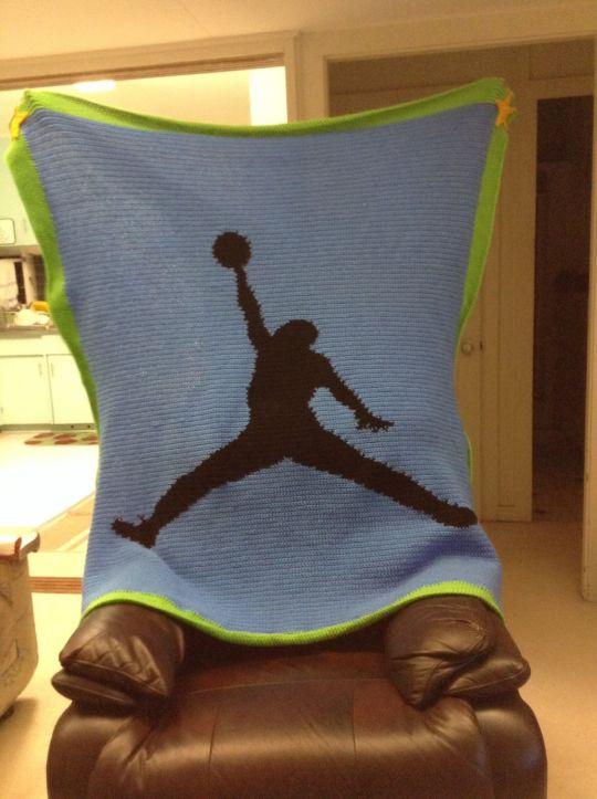 Basketball player silhouette afghan