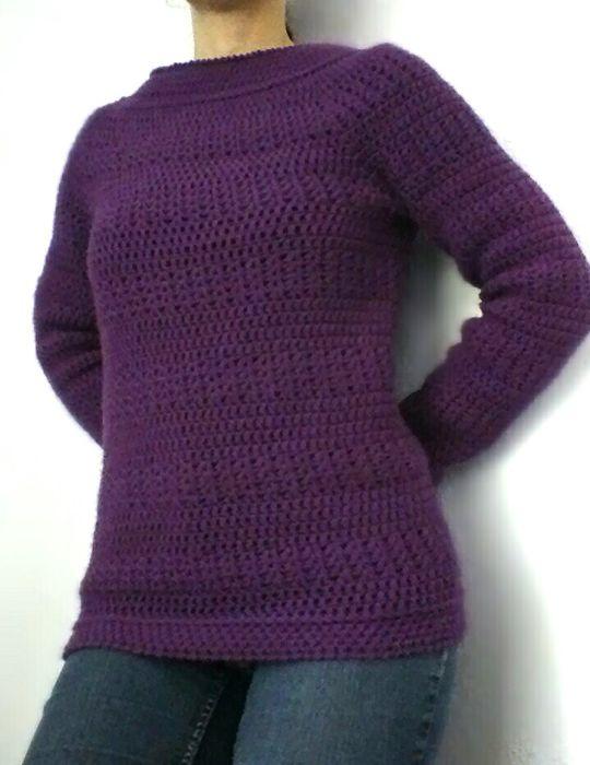 Plum Top-down Sweater