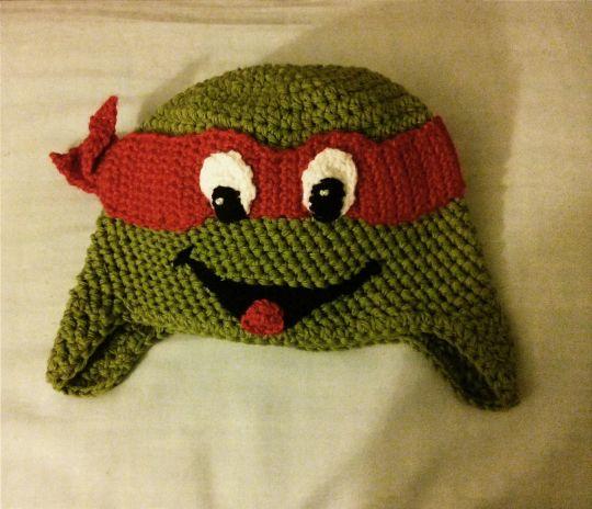 Crocheted inspired Ninja Turtle Hat