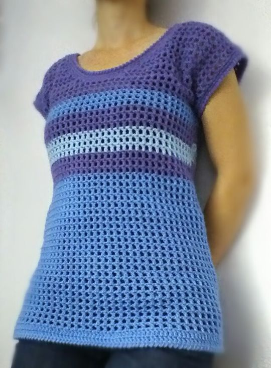 Purple and Blue Striped Mesh Tee