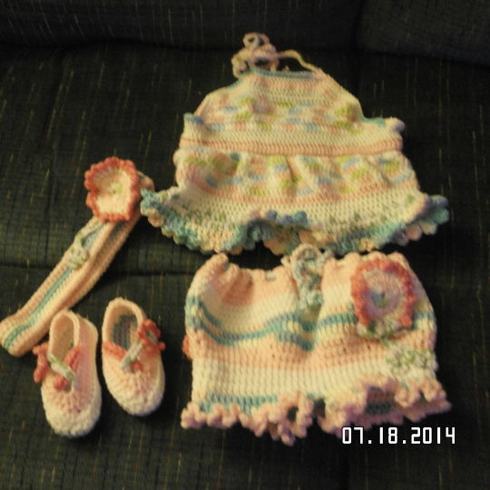 shorts and halter top , booties,headband now made into hat will have to post it later