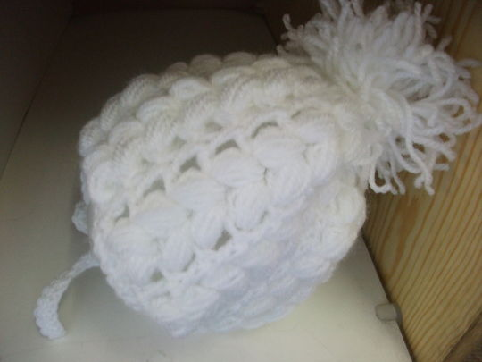 Plain White Boys Crochet Hat