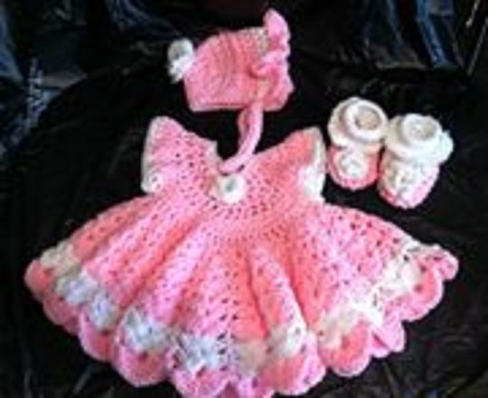 Pink crocheted set