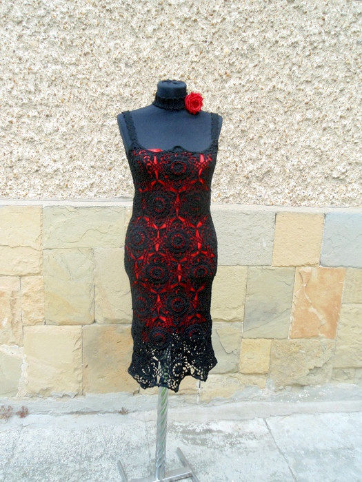 Crochet Black Dress, Black Lace Dress, Crochet Dress, Summer Dress , Crochet Resort Dress