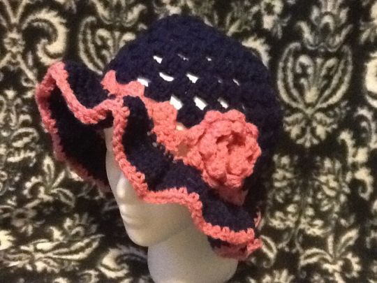 Granny square hat and brim hat with flowers
