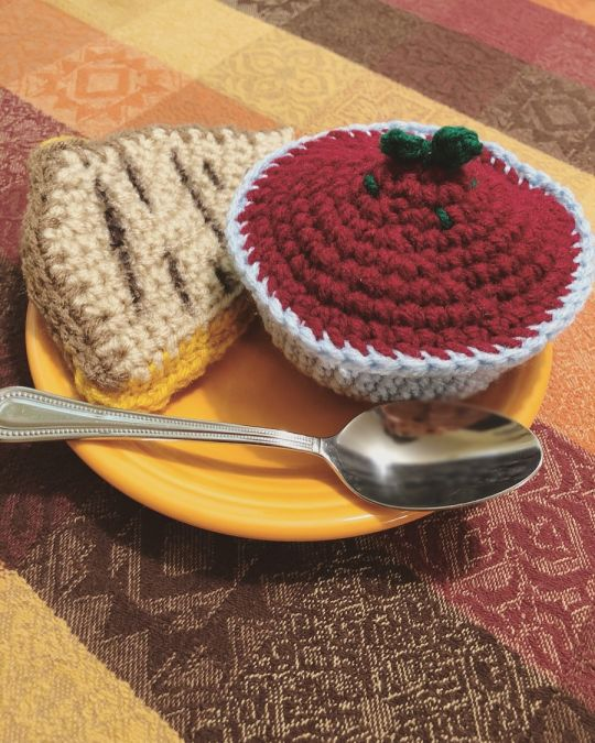 Handmade Crochet Grilled Cheese and Tomato Soup