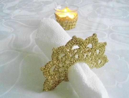 Tea Candle Holder and  Crochet Napkin Rings,  Golden Crochet Table Holder, Wedding Celebration