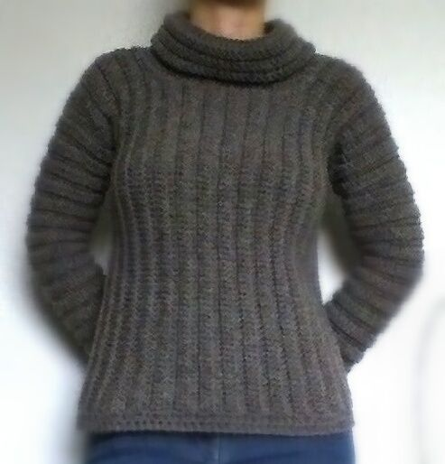 Thick Ribbed Cowl Neck Jumper