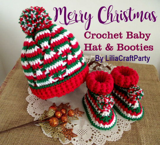 Christmas Baby Set Crochet Hat and Booties!
