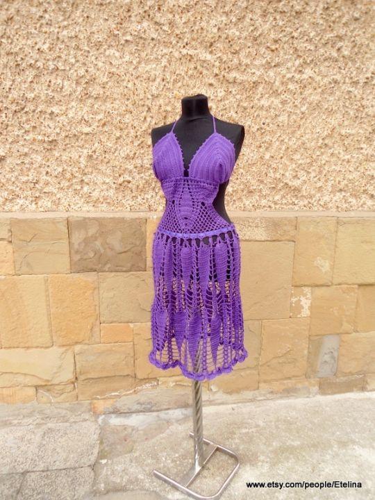 Crochet Purple Dress, Purple Handmade Dress, Summer Beach, Lace Dress, Summer Lace Tunic