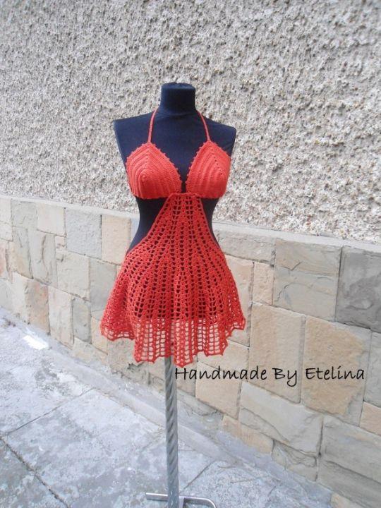 Crochet Beach Cover Lady, Crochet Resort Cover up, Summer Crochet Bikini Top, Crochet Swimwears