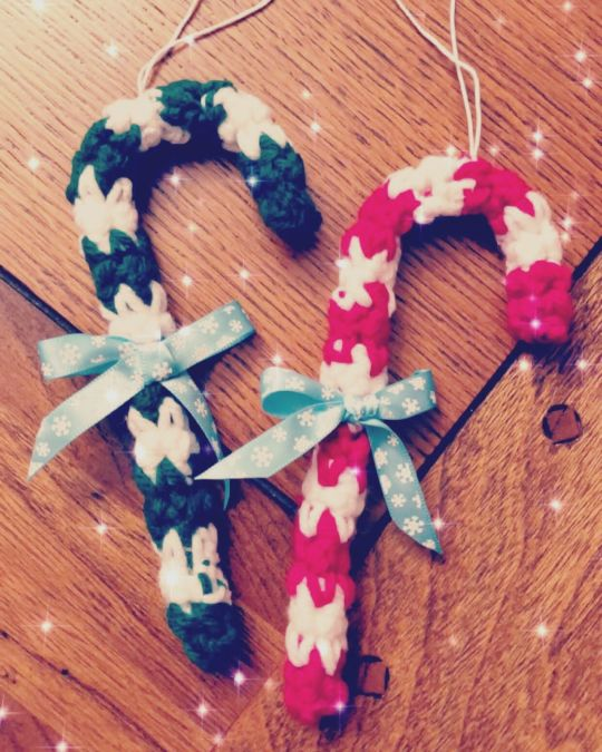 Handmade Crochet Candy Cane Ornaments