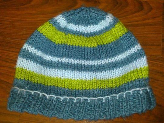 Knitted stripy beanie