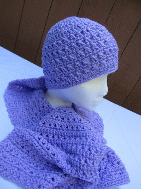 soft purple hat and scarf