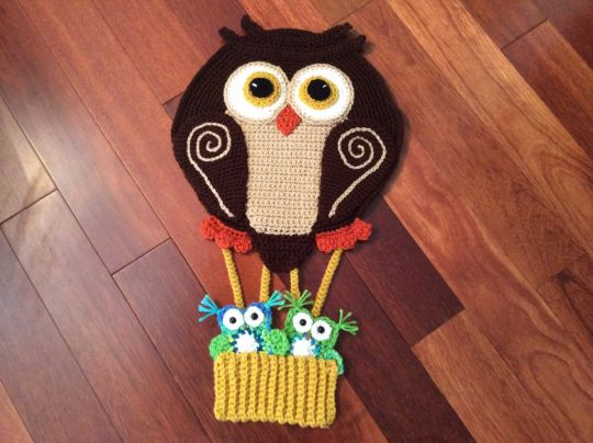 Owl hot air balloon nursery decor or blanket appliqué