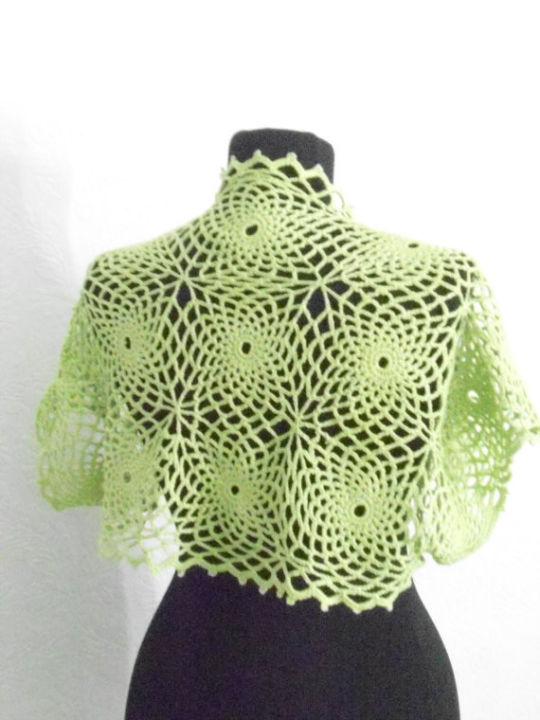 Green Crochet Bolero, Shrug, Jacket Bolero, Vest, Spider Lace Shrug