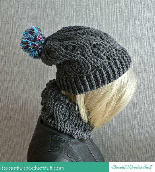 Crochet Infinity Scarf And Crochet Beanie