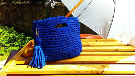 Blue Crochet Bag, Handmade Bag, Summer Bag, Cotton Tote, Woman Gift, Small Bag, Bag for Summer
