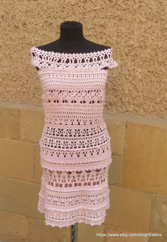 Crochet Dress, Light Pink Crochet Dress, Crochet Cocktail Dress, Exclusive Handmade