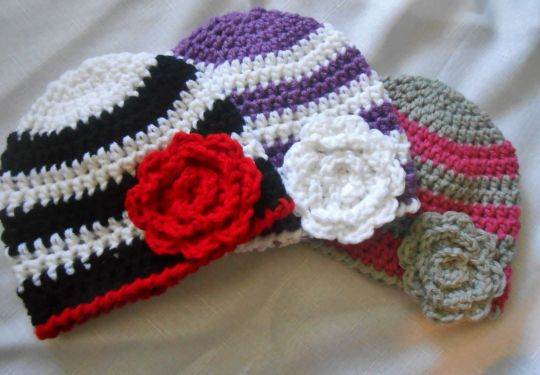 Striped Baby Beanies With Flowers