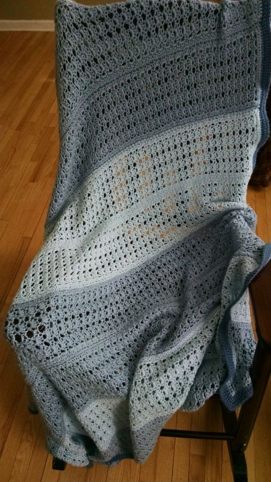 shell stitch striped afghan