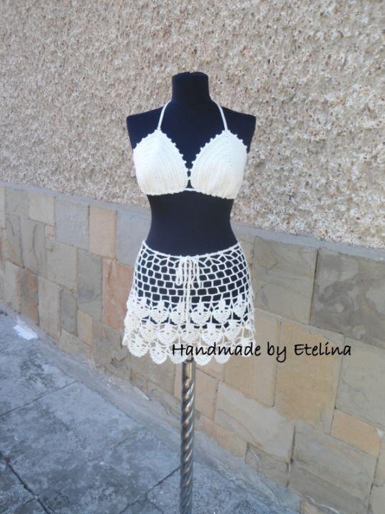 Crochet Beach Set, Crochet Skirt, Lacy Top, Summer Lace Suit, Resort Cover up,  Beachwear Bra