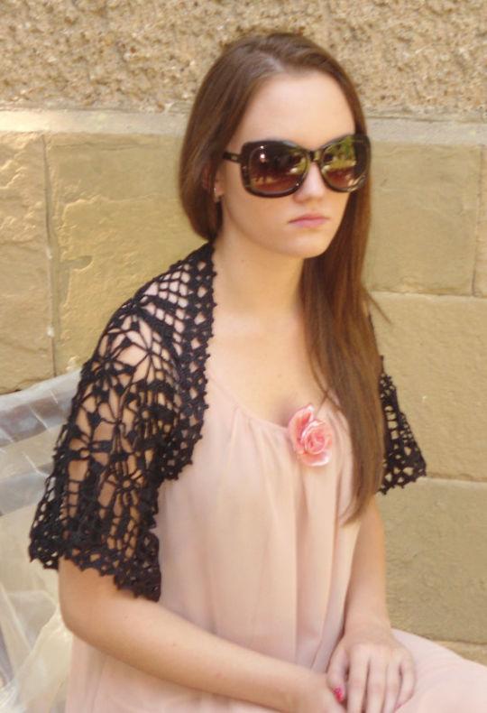 Crochet Bolero, Black Romantic Bolero, Crochet Women Shrug, Sleeves, Lace Wrap, Spring Summer Bolero