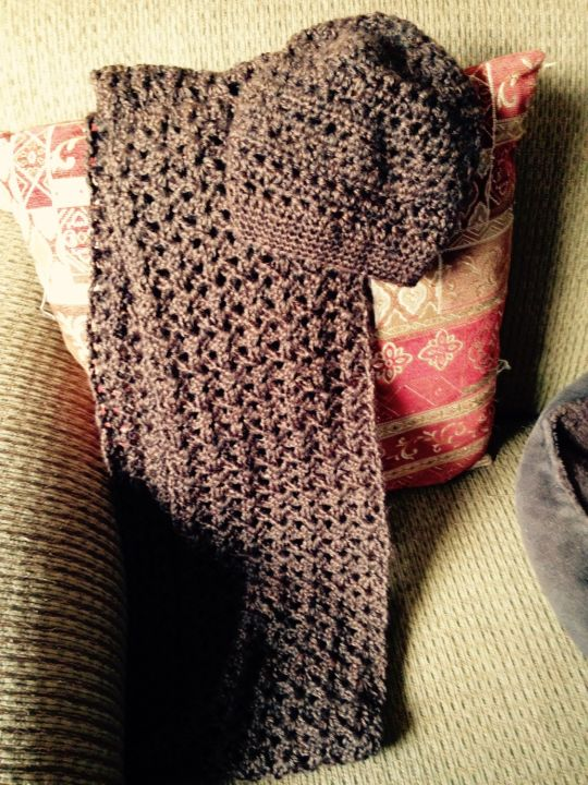 A gift...infinity scarf and hat. :)