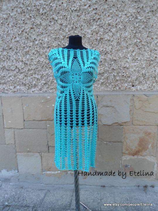 Aqua Blue Dress, Crochet Turquoise Beach Dress, Aqua Tunic Crochet, Summer Beach Dress,