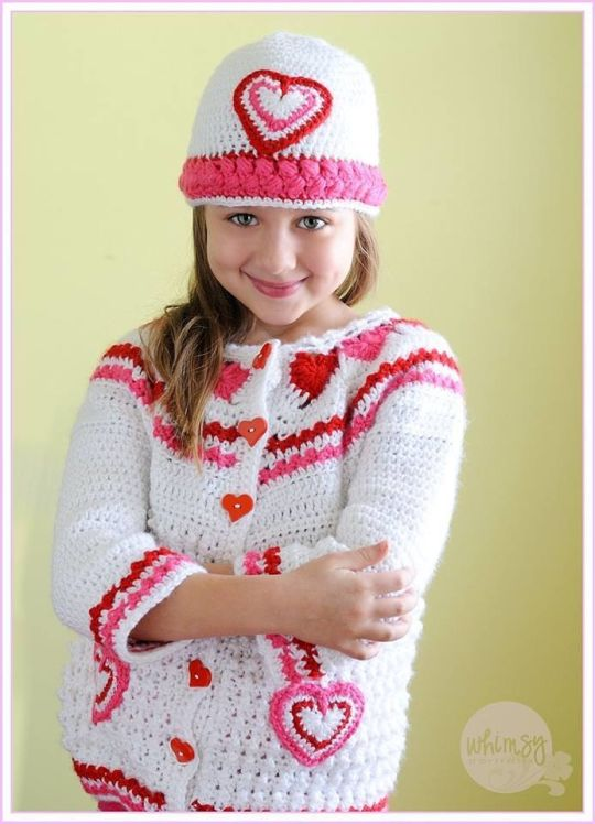 Hearts of Love Crochet Hat and Sweater