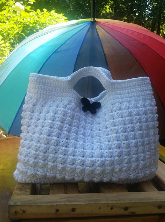 Crochet Bag, White Bag, Crochet Bag, Summer Bag, Cotton Tote, Crochet Handbag, Beach Bag,
