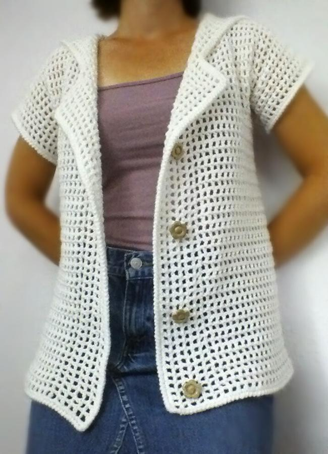 Short Sleeve White Cardigan Sweater