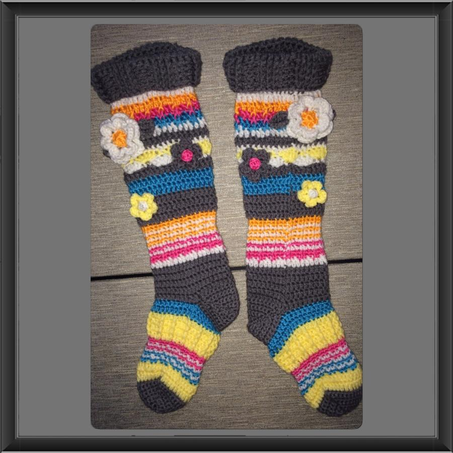 Free Crochet Patterns For Knee High Socks : Funky Flower Knee High Socks - Crochet creation by Alana ...