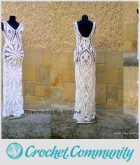 Crochet Wedding Dress, White Lace Dress, Bridal Crochet Dress, Boho Chic Dress
